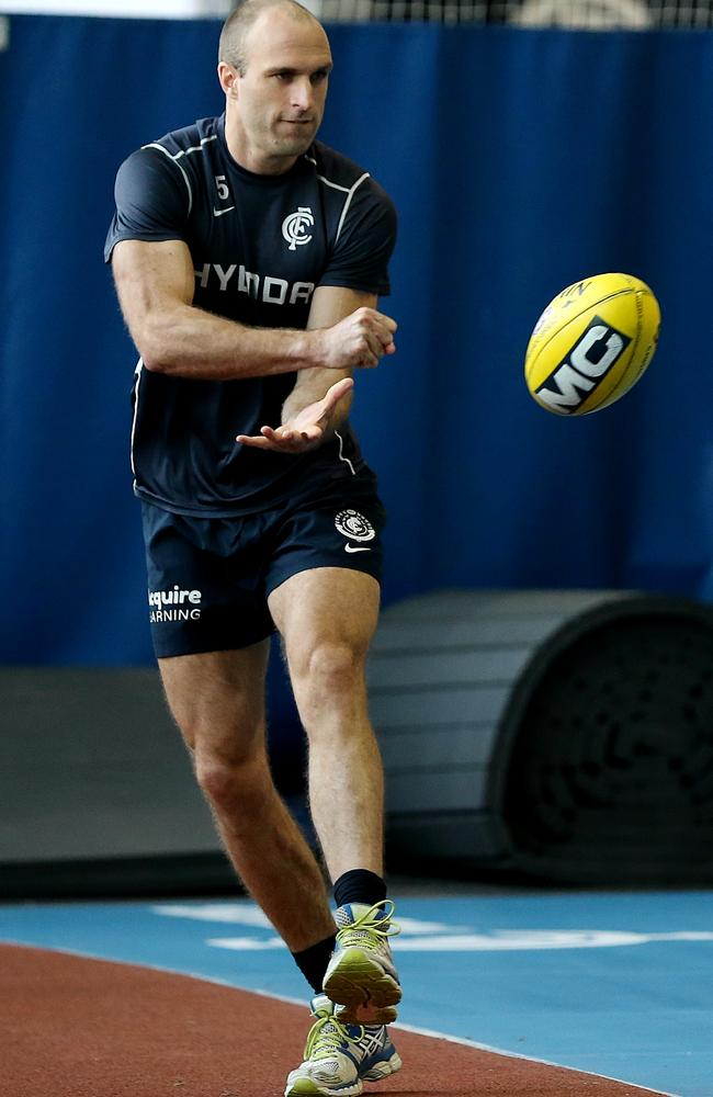 Chris Judd trains indoors at Visy Park. Picture: Wayne Ludbey