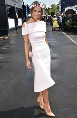Jodi Anasta poses for photos in the Birdcage on Oaks Day at Flemington Racecourse in Melbourne, Thursday, Nov. 5, 2015. Picture: AAP Image/Julian Smith