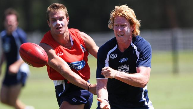 Cameron Ling at a Geelong training session.
