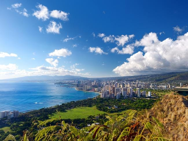 View of Honolulu city from Diamond Head.
