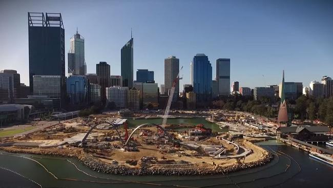 Drone footage of Elizabeth Quay, Perth's major waterfront development, which is taking shape on the Swan River.