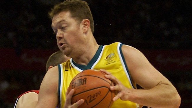 Luc Longley in action for the Boomers during the 2000 Sydney Olympics. Picture: David Kapernick.
