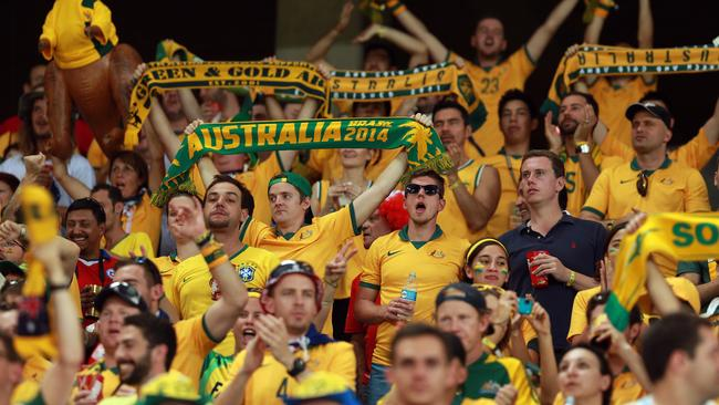 Aussie fans hit the stadium for the Socceroos v Chile.