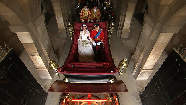 Prince William and his new bride leave Westminster Abbey in their horse-drawn carriage. Picture: AP