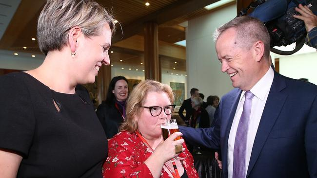 Tanya Plibersek, Magda Szubanski and Bill Shorten at Parliament House in Canberra..