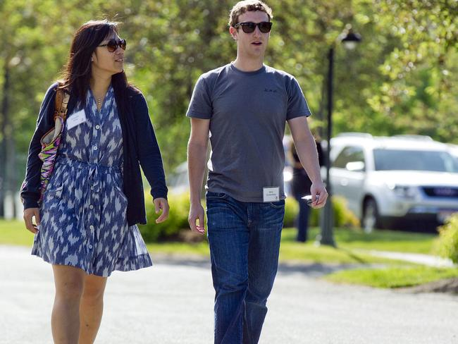 Power couple... Mark Zuckerberg and wife Priscilla Chan met while studying at Harvard. Picture: Julie Jacobson