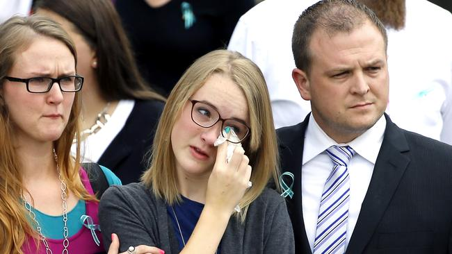 Emotional farewell....Cassidy Stay at her family's funeral. Picture: AP Photo/David J. Phillip.