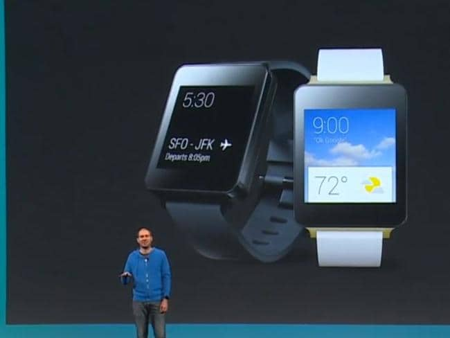 Conference ... David Singleton, Android director of engineering, explains the new smart watch.