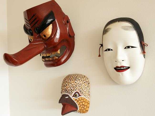 Kabuki Masks: I bought them in Japan, on the way to the UK, in 1985.