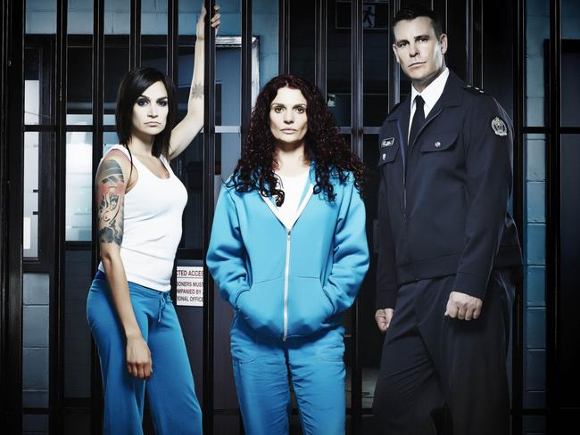 Nicole da Silva, Danielle Cormack and Aaron Jeffery in a scene from  <i>Wentworth.</i>