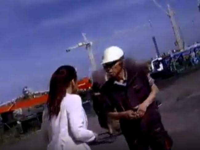 A worksite boss in Poland reveals on hidden camera how hardworking North Korean employees are. Picture: Screengrab BBC