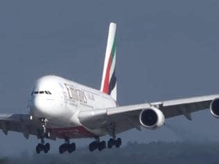A pilot skillfully lands an Airbus A380 amid crosswinds at Dusseldorf airport. Picture: YouTube