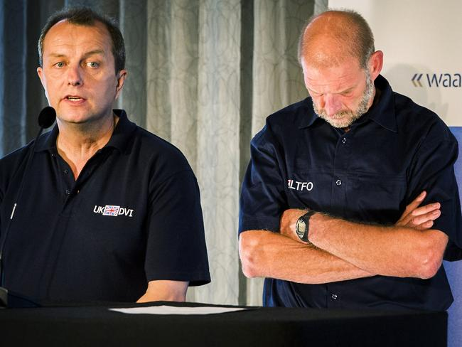Identification will not be easy ... UK Detective Inspector Howard Way and Dutch LTFO (National Forensic Investigation Team) spokesman Arie de Bruijn discuss the steps that may be taken.