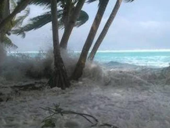 Cyclone Pam ... Some islands of Tuvalu were inundated by storm surges when Cyclone Pam struck the Pacific nation last year. Picture: Supplied