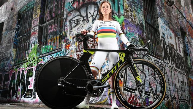 Orica-Scott Dutch cyclist Annemiek van Vleuten posing in her world champion jersey — one year after her life-threatening crash at the Rio Olympics. Picture: Tim Carrafa