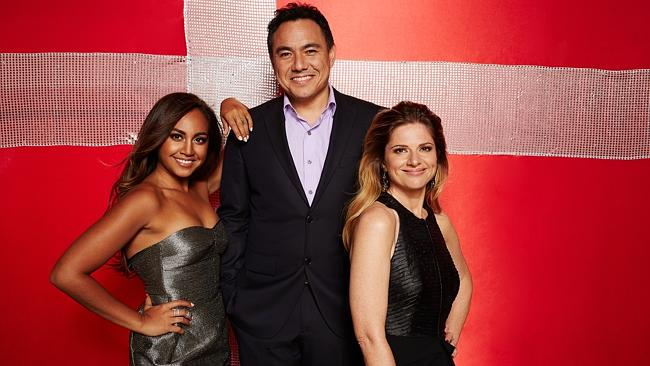 Europe bound ... Jessica Mauboy will be the first Australian invited to perform as a guest at the Eurovision Song Contest with SBS hosts Julia Zemiro and Sam Pang. Picture: Supplied