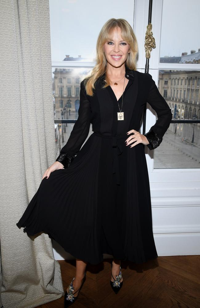 Stunning in black at the Schiaparelli show. Picture: Getty