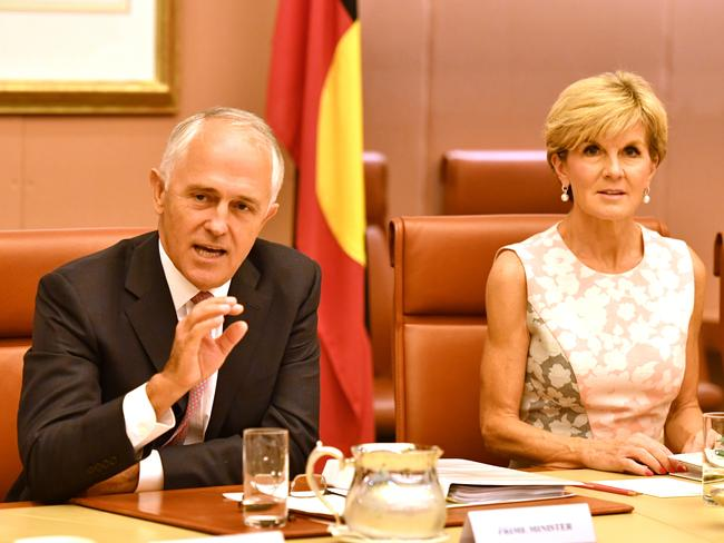 Prime Minister Malcolm Turnbull and Minister for Foreign Affairs Julie Bishop are sticking their guns about the proposed swap of detainees. Picture: AAP / Mick Tsikas