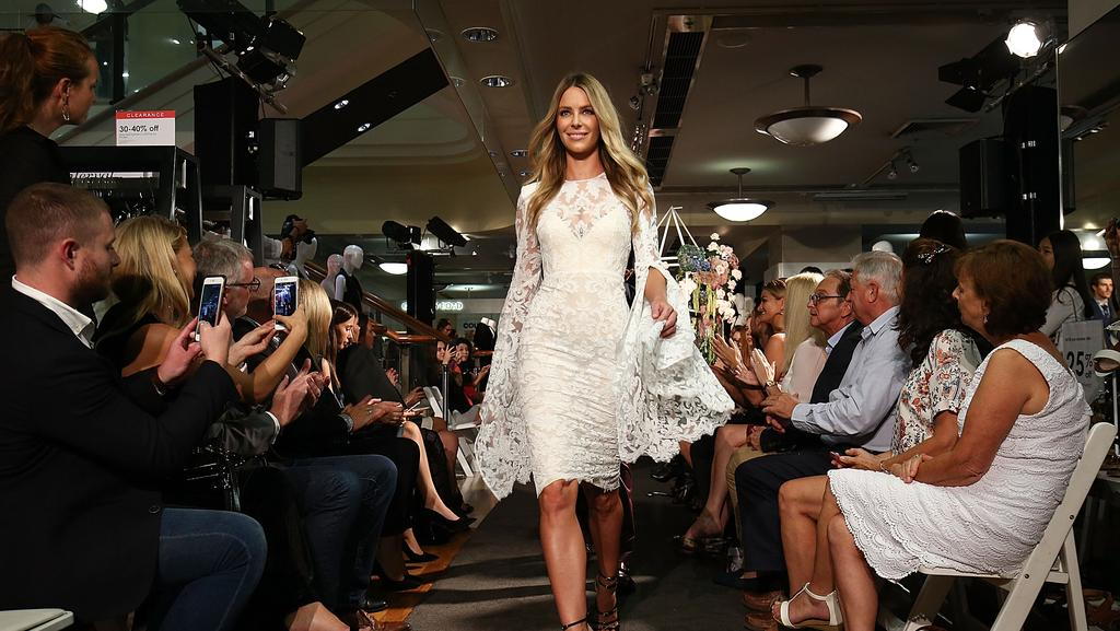 Jennifer Hawkins showcases designs by Alex Perry during the Myer Fashion Runway show on March 16, 2017 in Sydney, Australia. Picture: Brendon Thorne/Getty Images