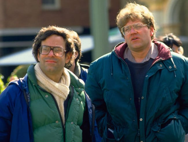 Bob Gale and Robert Zemeckis on the Back to the Future set.