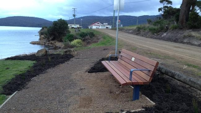 The bench at Port Esperance, in William McCallum's memory.