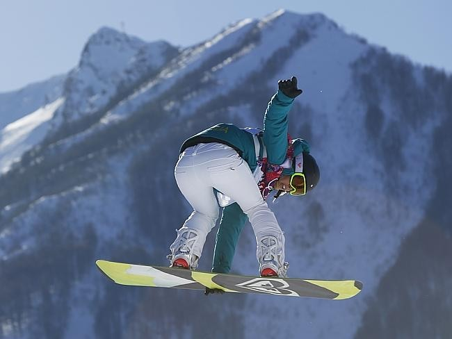 Torah Bright in action during the women's snowboard slopestyle qualifying at the Rosa Khutor Extreme Park ahead of the 2014 Winter Olympics. Picture: AP