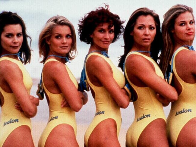Simon Jade McKinnon, centre, and Tania Zaetta, second from right, where briefly in Baywatch. Picture: Supplied