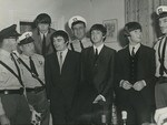 Bill Scarborough, far left, one of four bodyguards for The Beatles, at the South Australian Hotel in Adelaide, June 13, 1964