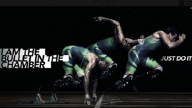 A Nike advertisement featuring the phrase 'I am the bullet in the chamber' has been pulled from Oscar Pistorius's website.
