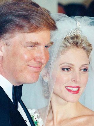 Donald Trump marries Marla Maples in 1993 with guests including the Clintons and Rosie O'Donnell. Picture: AP