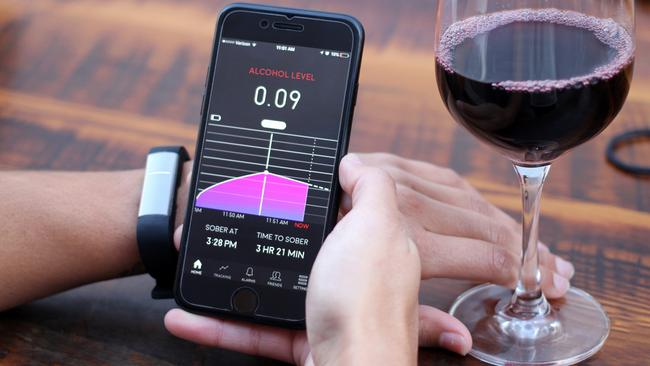 The Proof wristband from Milo Sensors tests alcohol molecules in your skin to detect your level of sobriety. Picture: Supplied