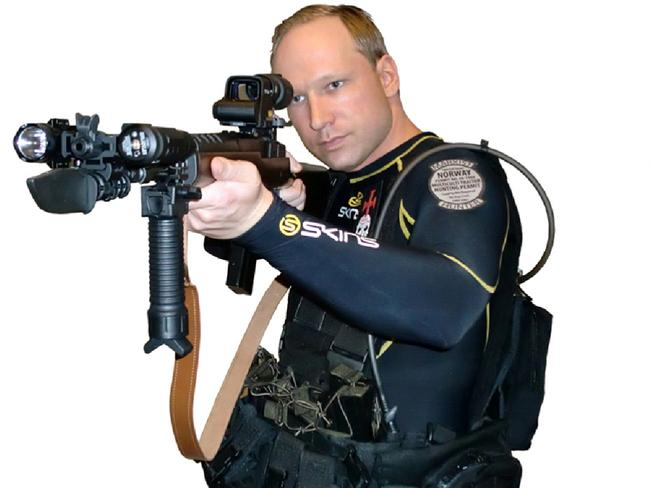 Breivik posted this picture of himself with an assault rifle on his Facebook page.