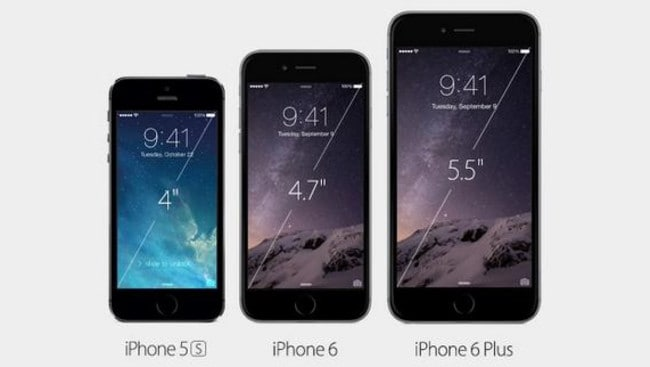 The iPhone 6 has 38 per cent more pixels than the iPhone 5S and the 6 Plus has 185 per cent more.