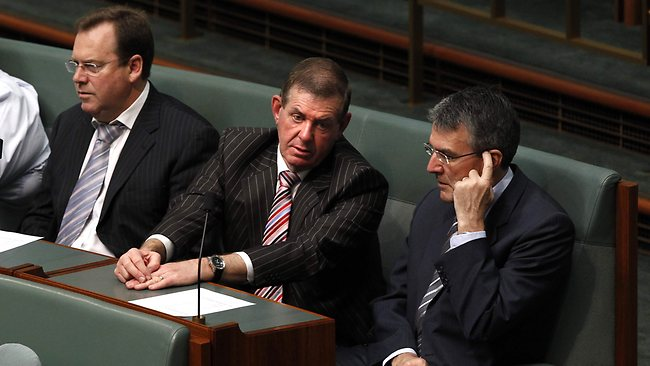 Robert McClelland, Peter Slipper and Mark Dreyfus sitting together during a division in the House of Representatives. Picture: Kym Smith