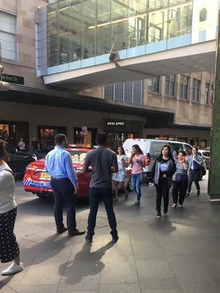 Emergency services were called to Sydney Tower in the CBD about 2.45pm. Picture: Twitter / Ellie Grounds