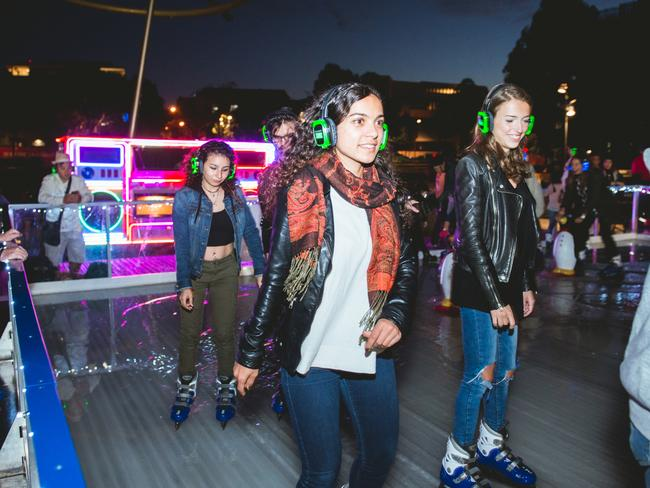 One for the cooler kids; Vivid Sydney's Silent Disco at the Central Park Ice Rink.