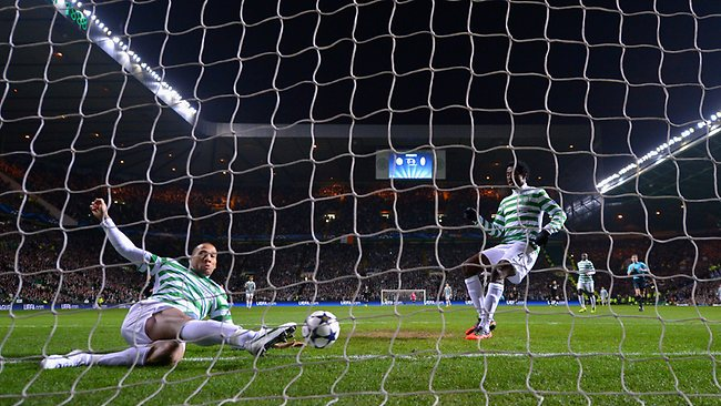 EUROPEAN Champions League, round of 16, first leg: Kelvin Wilson of Celtic fails to keep out the first goal scored by Alessandro Matri of Juventus in Glasgow. Picture: Stu Forster