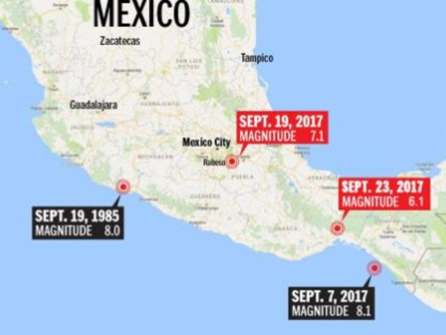 The locations of the three earthquakes to hit Mexico this month and the 1985 monster. Picture: Google Maps