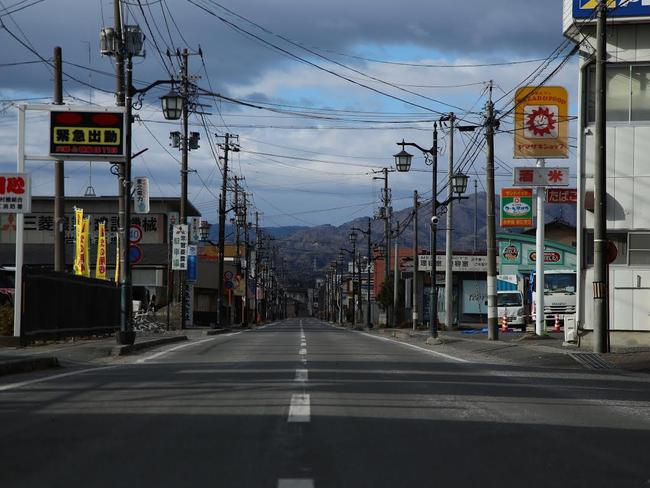 A deserted main street in Namie, Fukushima. Picture: Amos Roberts/Dateline