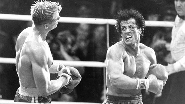 Sylvester Stallone with Dolph Lundgren in scene from film 'Rocky IV'.