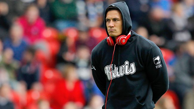 Sonny Bill Williams of New Zealand looks on before the World Cup warm-up game between New Zealand and the Cook Islands at the Keepmoat Stadium in Doncaster, England.