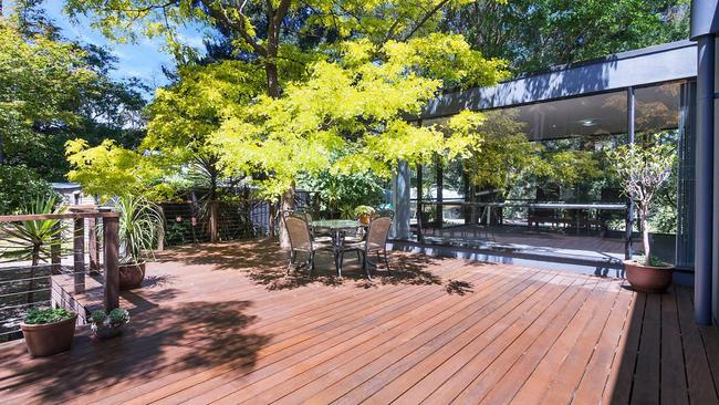 A large central deck is a highlight of the home.