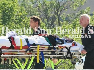 TV presenter Grant Denyer is air lifted to the Alfred Hospital after a car crash. Picture:Eugene Hyland