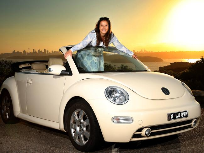 Lucinda with her beloved Love Bug at Manly in Sydney Picture: Stephen Cooper