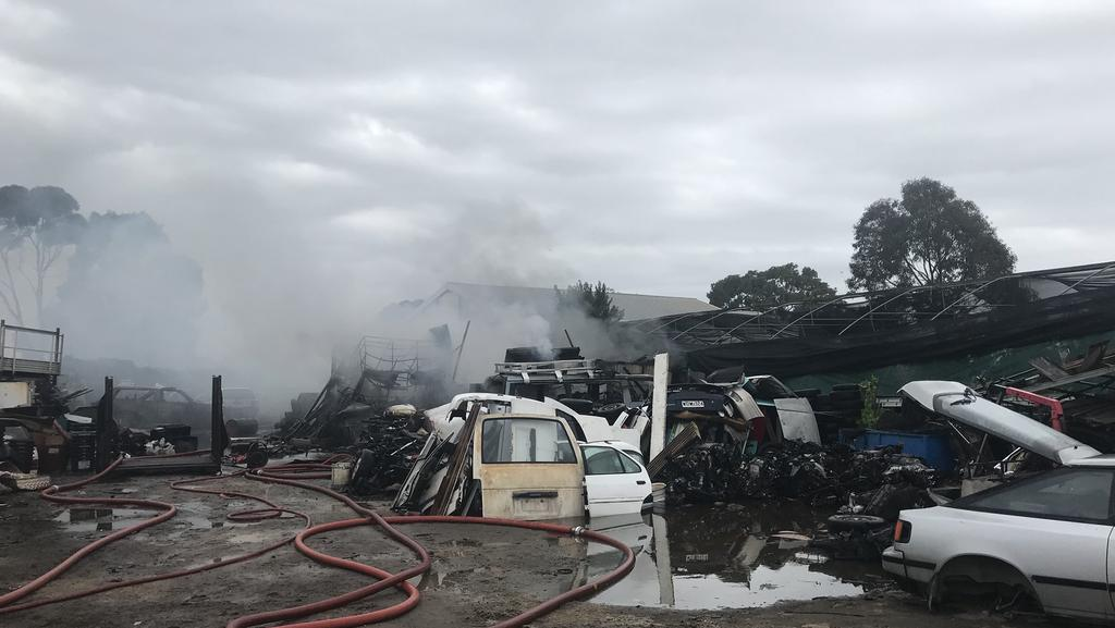 The fire at the salvage yard has been extinguished. Picture: Bianca De Marchi