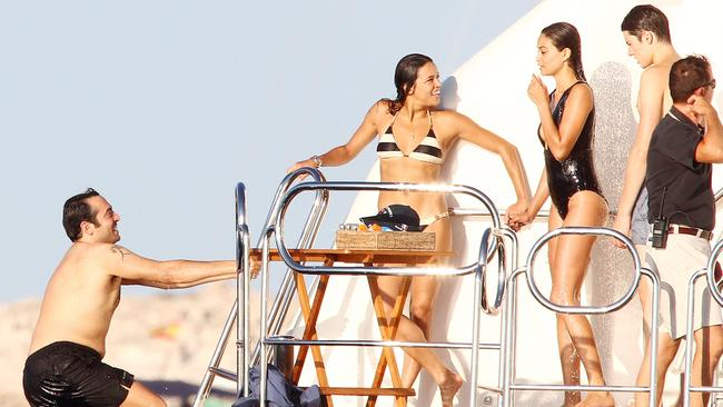Actress Michelle Rodriguez with Shanina Shaik on board a yacht with friends. Picture: Snapper Media