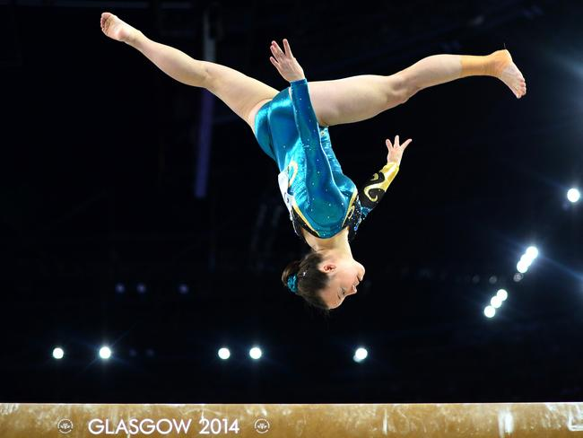 Mary Anne Monckton of Australia performs in the Women's Beam final.