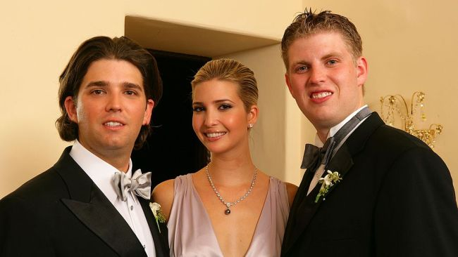 Donald Trump Jr with his sister Ivanka Trump and brother Eric Trump. (Photo by Carlo Allegri/Getty Images)