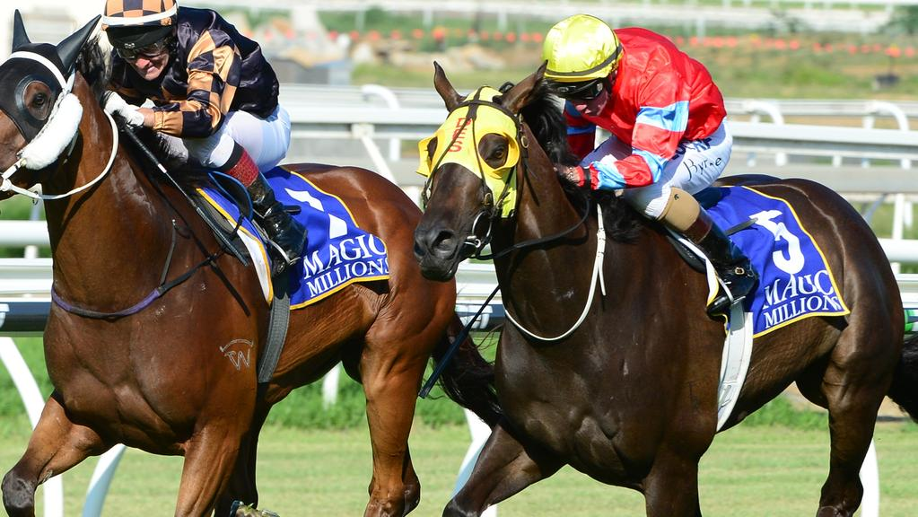 Cylinder Beach (right) just edges out Man Of His Word. . Picture: Grant Peters, Trackside Photography