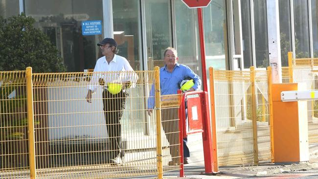 Workers arrive at the Point Henry smelter this morning. Picture: Alison Wynd